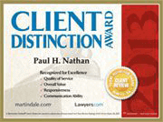 Logo Recognizing The Law Offices of Paul H. Nathan's affiliation with Client Distinction Award